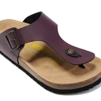 Birkenstock Gizeh Sandals Leather Purple - Ready Stock