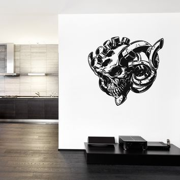 ik1125 Wall Decal Sticker skull cylinders turbo exhaust livingroom bedroom garage