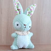 Mint Bunny plush - Bunny stuffed toy  - soft 3 dimensional animal - READY TO SHIP