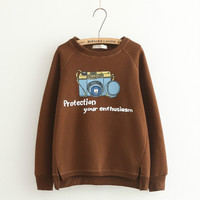 Camera Letter Print Sweater