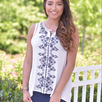 Daydream Embroidered Top- White