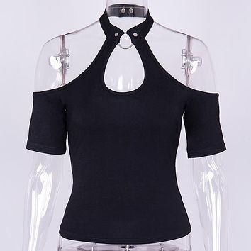 Gothic off shoulder backless t-shirt women cut out black halter crop tops sexy slim fit hoop