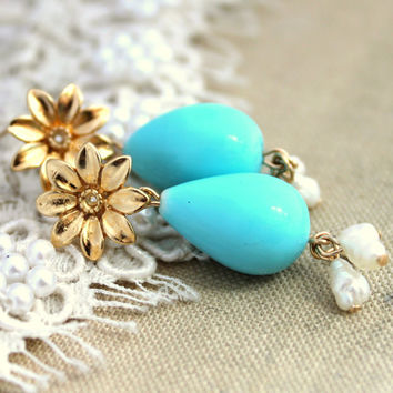 Pearls and gold earrings classic earrings - 14K Gold filled earrings with white Majorica perfect blue pearls.