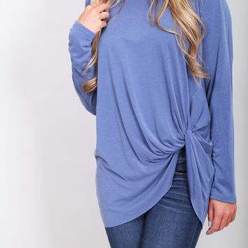 Knot Your Basic Long Sleeved Tee {Blue}