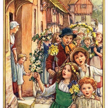 "Cicely Mary Barker Print -  ""WE BRING A BRANCH OF MAY"" - Offset Lithograph - c1930"