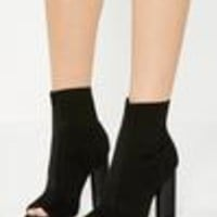 Missguided - Black Knitted Peep Toe Ankle Boots