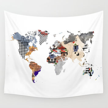 Patchwork world map Wall Tapestry by Hedehede