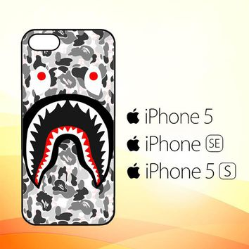 A Bathing Ape White Camo Shark J0025  iPhone 5|5S|SE Case