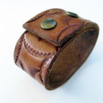 Leather hand tooled cuff wrist band with by mailordervintage