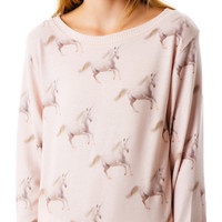 All Things Fabulous Running Unicorns Cozy Jumper Pink