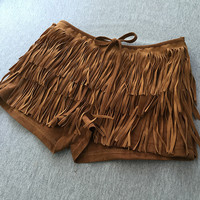 Bohemia Style Mid Waist Layered Tassel Cutoff Suede Shorts with Bow-Knot