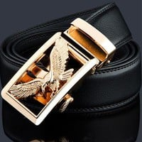 Black Leather Belt with Gold Eagle Buckle