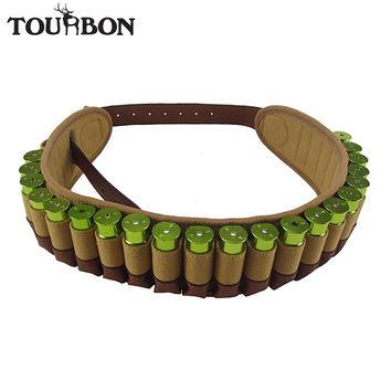 Tourbon Hunting Bandolier Shotgun 12 Gauge Bullet Cartridges Ammo Belt Canvas Genuine Leather Ammunition Holder for Shooting