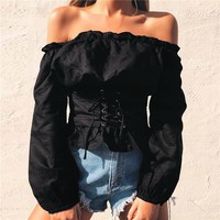 Serenity Off Shoulder Corset Blouse - Black