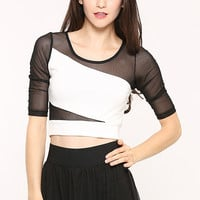 Block Lace Crop Tops in Black and White