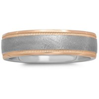 Plated-Sterling Silver and 14K Rose Gold Brushed Center Men's Milgrain Wedding Band