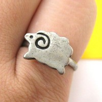 Simple Sheep Ram Basic Adjustable Animal Ring in Silver from Dotoly Love