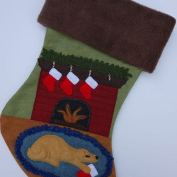 Dog Christmas Stocking Mischievous Dog by Fire