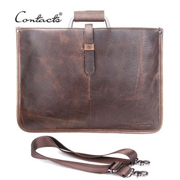 CONTACT'S Thin Genuine Leather Men's Briefcase Business Leather Laptop Bag For Men Messenger Bags Tote Brand Design 2018 New