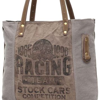 Myra Bag Racing Team Up-cycled Canvas Tote S-0937