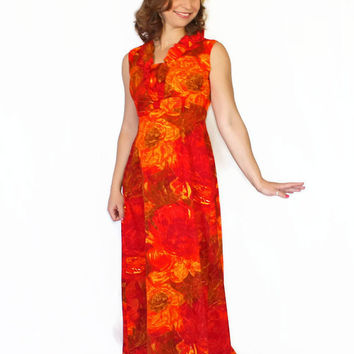 60s Hawaiian Dress. Red Orange Maxi Dress. Summer Dress. Floral Print. Beach Dress. Mad Men Dress. Beach Wedding.