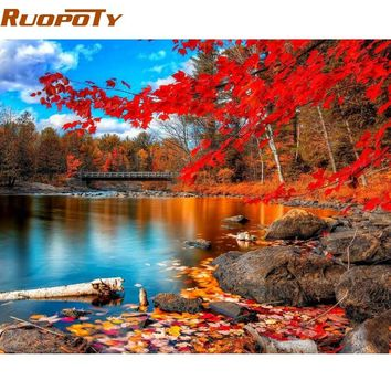 RUOPOTY Red Forest DIY Painting By Numbers Modern Home Wall Art Acrylic Paint On Canvas Hand Painted Oil Painting For Home Decor