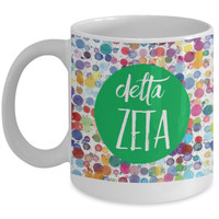 Greek Sorority Mug - Delta Zeta Dots - 11 oz Gift Mug