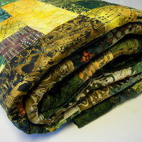 Batik Lap Quilt Lemongrass Green Yellow Handmade Ready to Ship One of a Kind