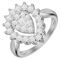 FANTASTIC WHITE CZ STUD 925 STERLING SILVER ENGAGEMENT AND WEDDING RING FOR HER