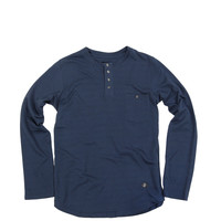 French Terry Long Sleeve Pocket Tee Navy