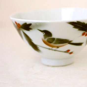 Vintage Japanese Chawan Rice Bowl Red Robin Bird on Branch