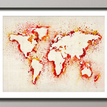 Map of the World Map Abstract Painting Art Print by artPause on Etsy