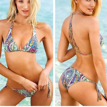 HOT TOTEM PRINT DESIGN BRAID TWO PIECE BIKINIS SWIMWEAR BATH SUIT
