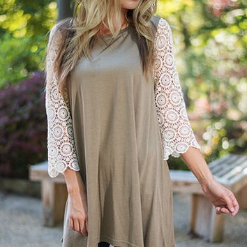 Army Green Lace Sleeve Knit Dress
