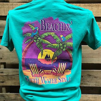 South Waters Beachin Palm Trees Beach Comfort Colors Bright T Shirt