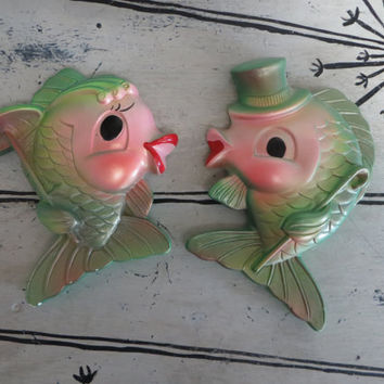 Miller Studio Chalkware Fish 1969 Green and PInk Decor Mid Century Decor Retro Fish Kitschy Decor
