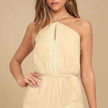 New Friends Colony Hadara Beige Embroidered Romper