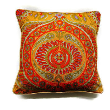 "Jyoti Bhomik ""Pageant"" for Heals, orange, red, green, purple vintage 60s cotton barkcloth cushion, throw pillow, homeware decor,18 X 18 ins."