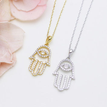 925 sterling silver cubic zirconia Hamsa hand necklace in Gold or Silver