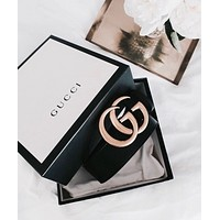GUCCI Hot Classic Double G Letter Smooth Buckle Belt Leather Belt+Gift Box Black I/A