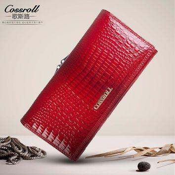 cossroll Womens Wallets  Purses Female Long European and American Style Genuine Leather Wallet Coin Purse Ladies Designer Wallet