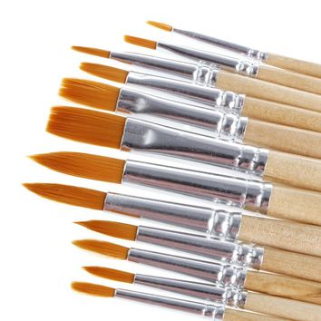 12Pcs Brush Set for Art Painting Oil Watercolor Drawing Craft Tool DIY Kid Child