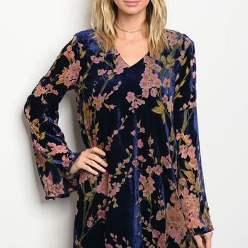 Floral Velvet Dress in Navy