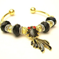 Black Koi Fish European Charm Cuff Bracelet - Black, Gold, & Silver - Swinging Tail, Mother's Day  - Free U.S. Shipping