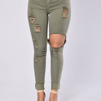 DCCKLM3 Glistening Jeans - Olive