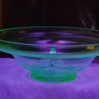 Vintage Uranium Glass Bowl with Ladle, Vintage Green Glass Bowl, Green Vaseline Glass Bowl, Punch bowl, Vintage Green Depression Glass Bowl