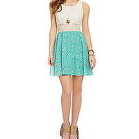 Sequin Hearts Crochet Illusion-Waist Tank Dress - Mint/Khaki