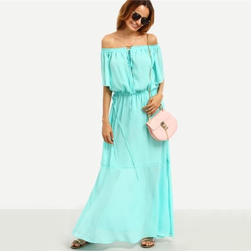 Summer Beach Plain Green Drawstring Waist Off The Shoulder Maxi Dress
