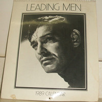Leading Men Movie Still Black and White Famous Actor Photo Picture Calendar 1989 Gibson Greetings