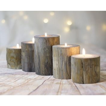 Set of 5, Gray Log Candle Holders, Farmhouse Table Centerpiece